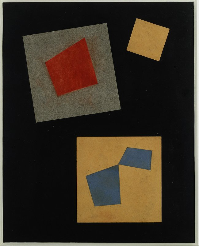 Composition, 1917, Collage, colored cardboard on paper, 26 x 21 c