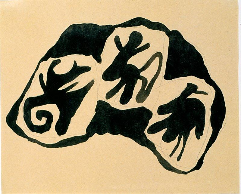 Hans Arp: Dada Zeichnung, um 1916, Tusche und Bleistift auf Papier, 17,8 x 22,1 cm