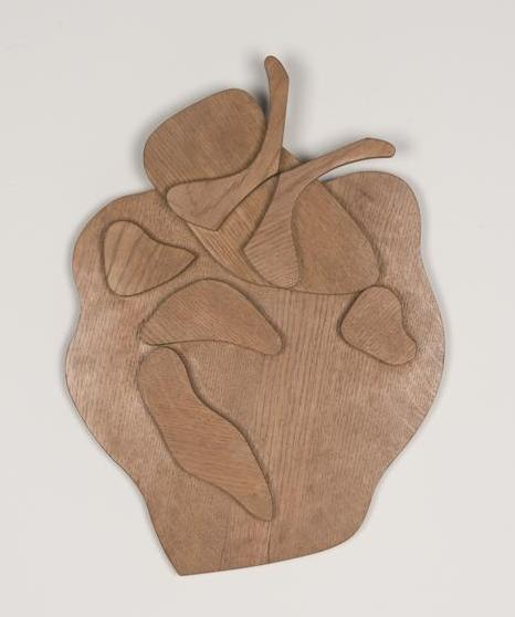 Relatives from Greece, 1964, Untreated wood, 56.8 x 42.1 x 7.1 cm