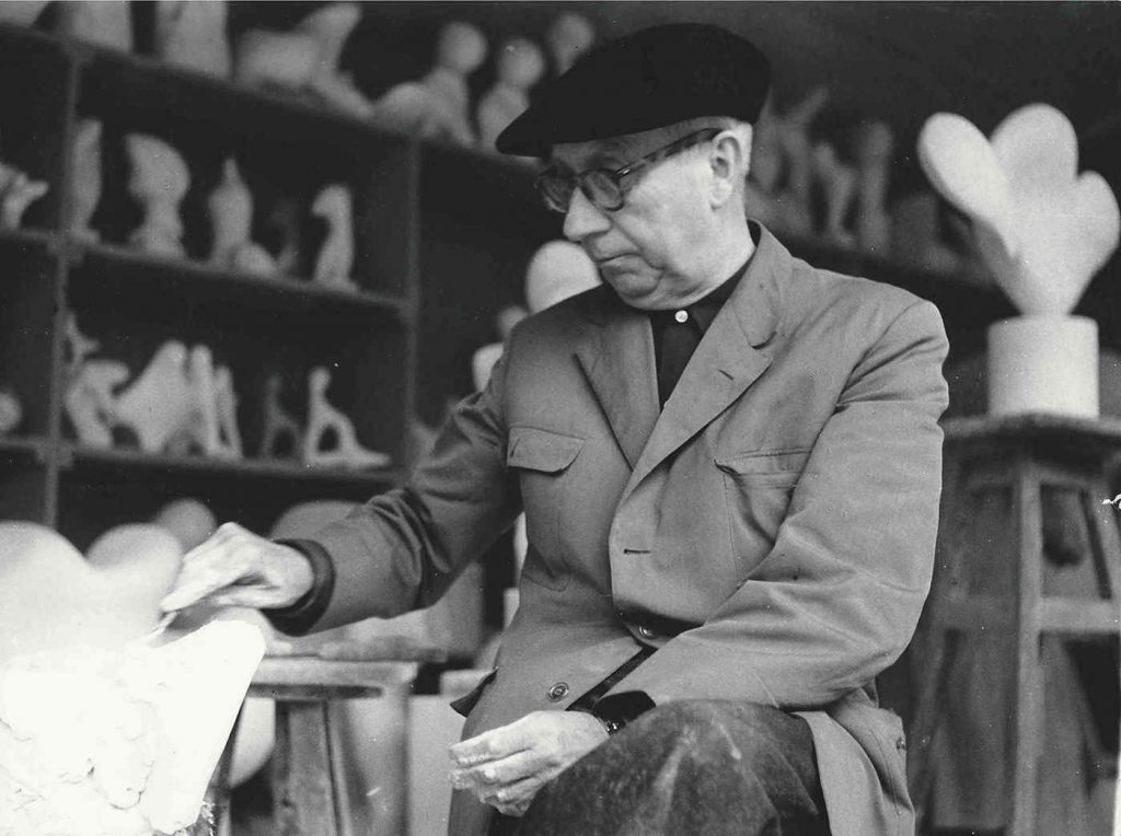 Hans Arp in his studio in Clamart, c. 1960-1962 (Photograph: Etienne B. Weil)