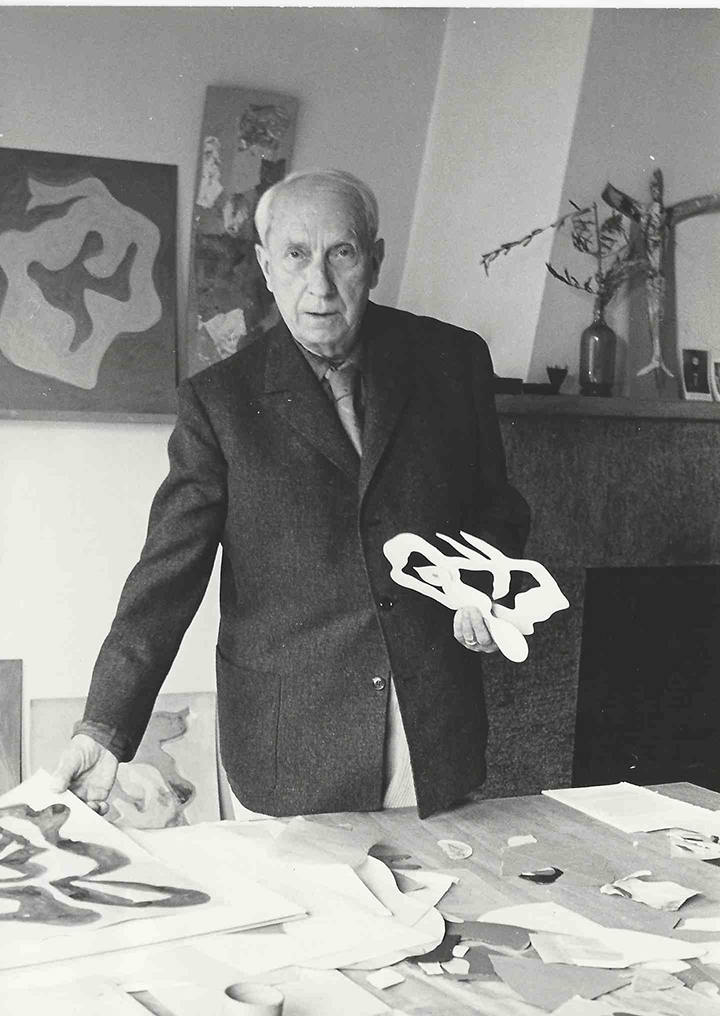 Hans Arp in his studio in Solduno, 1964 (Photograph: L. Holländer)
