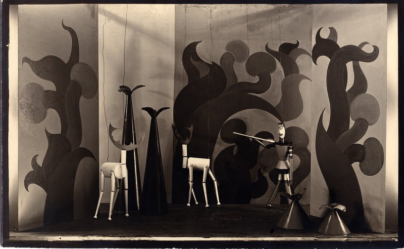 "Stage Set with Marionettes designed by Sophie Taeuber Arp for ""König Hirsch,"" 1918, Photograph"