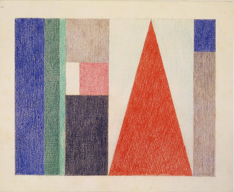 Sophie Taeuber-Arp, Large Triangle. Vertical-Horizontal Composition, 1916, Colored pen on paper, 19.3 x 23.6 cm