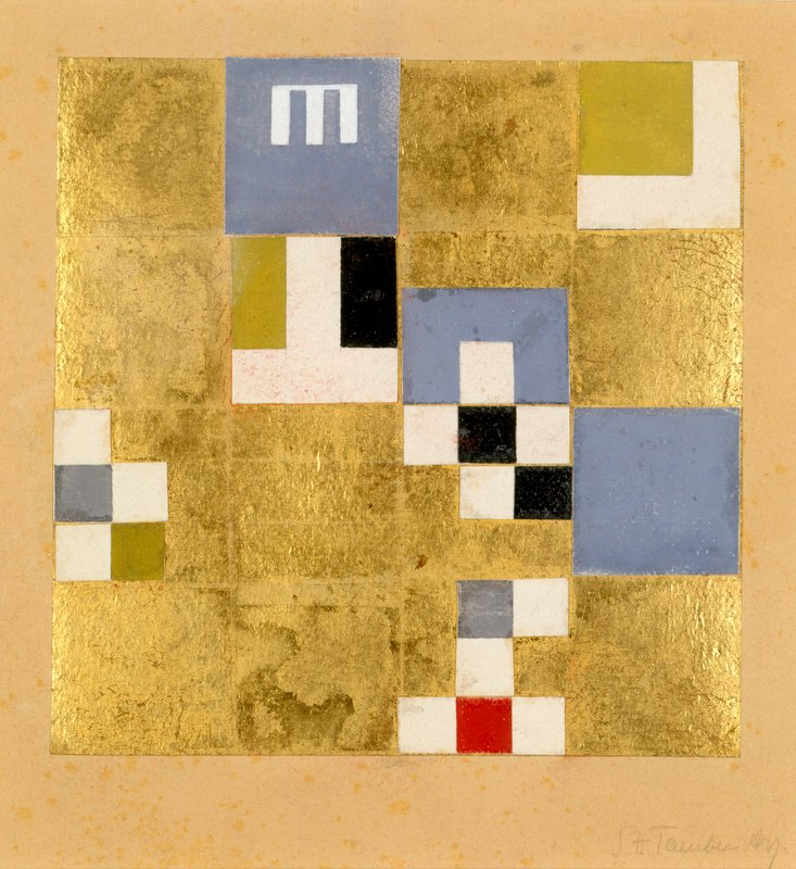 Sophie Taeuber-Arp, Vertical-Horizontal Composition with Elements of Objects, 1919, Colored paper collage on paper, 20.2 x 20.2 cm