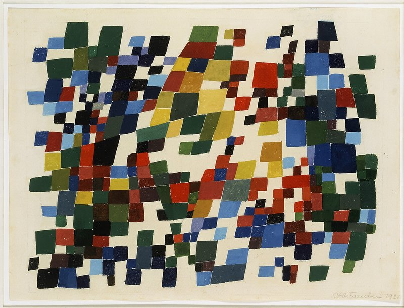 Sophie Taeuber-Arp, Composition on Overlapping Colored Square Planes, 1921, Gouache on paper, 26 x 35 cm