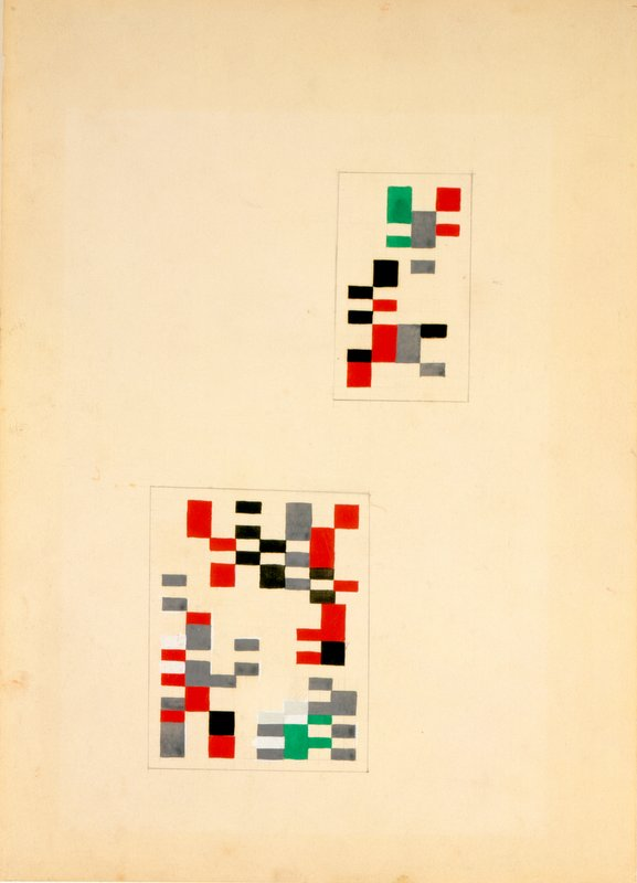 "Sophie Taeuber-Arp, Design for the Composition ""Aubette,"" 1927, Gouache and pencil on paper, 35.6 x 26.1 cm"