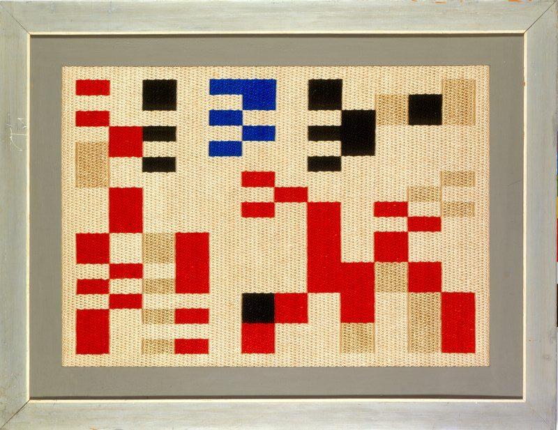 """Sophie Taeuber-Arp, """"Aubette"""" Composition, 1928, Embroidery, 77.5 x 55.5 cm"""