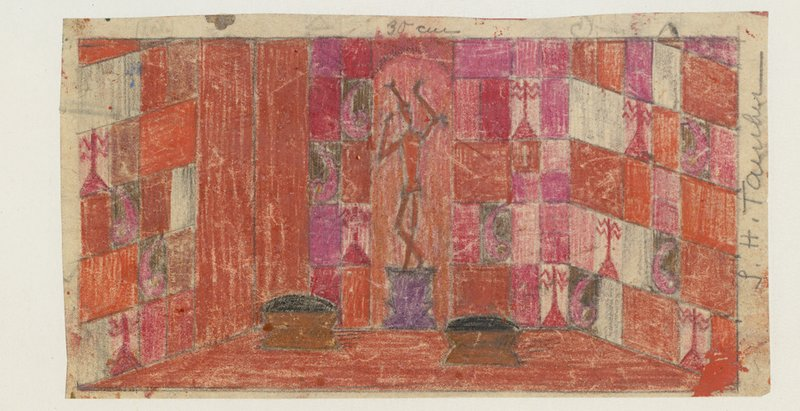 "Sophie Taeuber-Arp, Design for the Stage Set for ""König Hirsch,"" 1918, Colored pencil on paper, 8.8 x 16.4 cm"