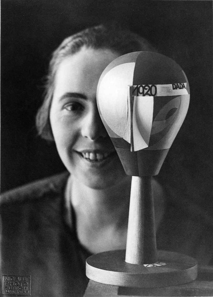 Sophie Taeuber with Dada Head, Zurich, 1920 (Photograph: Nic Aluf)